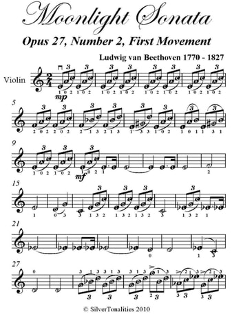 Moonlight Sonata Easy Violin Sheet Music ebook by Ludwig van Beethoven