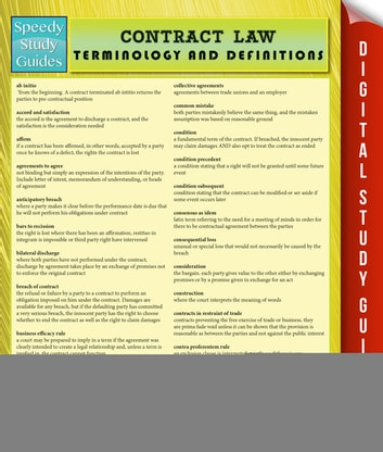 Contract Law Terminology and Definitions (Speedy Study Guide) ebook by Speedy Publishing