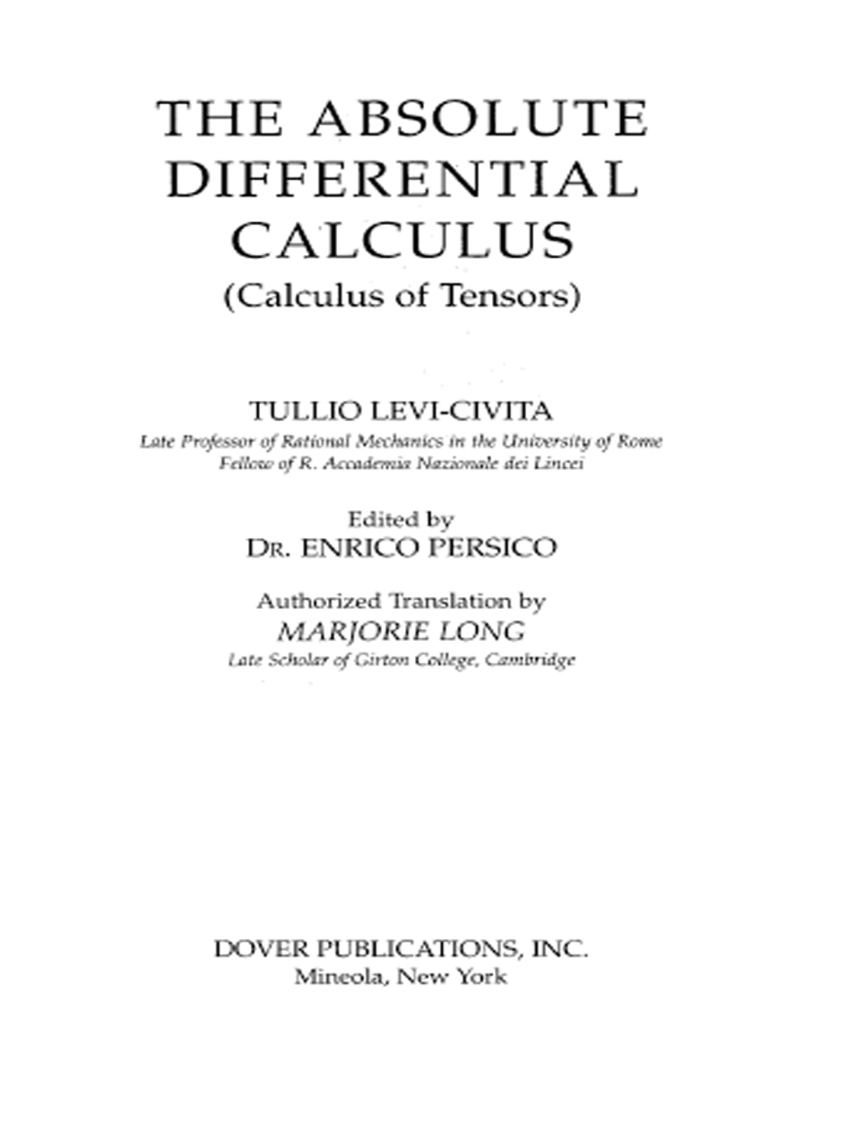 Image result for absolute differential calculus levi civita