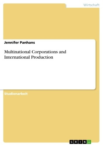 Multinational Corporations and International Production ebook by Jennifer Panhans