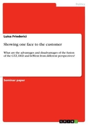 Showing one face to the customer - What are the advantages and disadvantages of the fusion of the GTZ, DED and InWent from different perspectives? ebook by Luisa Friederici