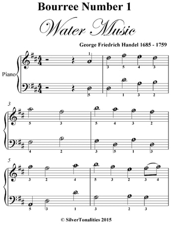 Bourree number 1 the water music easy piano sheet music for Piano dance music 90 s